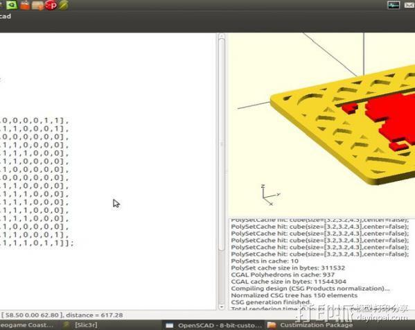 8-bit游戏杯垫 3D模型  图1