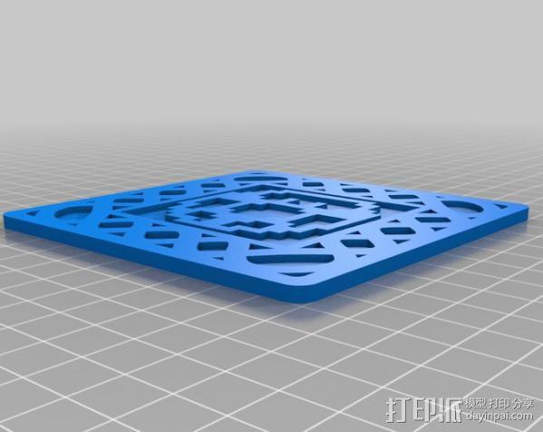 8-bit游戏杯垫 3D模型  图2