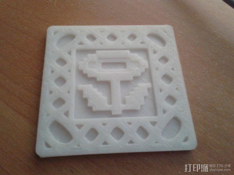 8-bit游戏杯垫 3D模型  图4