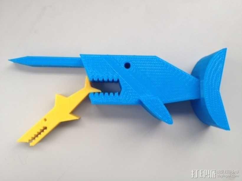 独角鲸鱼夹 3D模型  图1