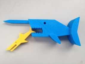 独角鲸鱼夹 3D模型