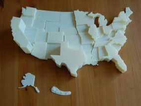 美国地图 3D模型