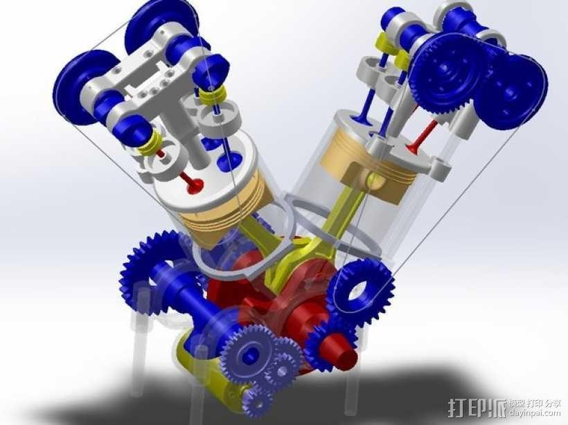 运动摩托车引擎 3D模型  图4