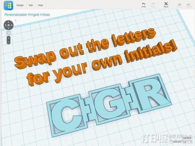 字母铰链 3D模型  图2