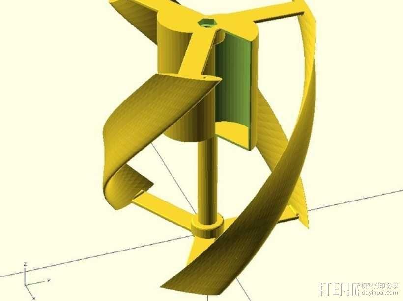 螺旋叶片风车 3D模型  图1