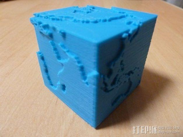 立方体地球模型 3D模型  图2