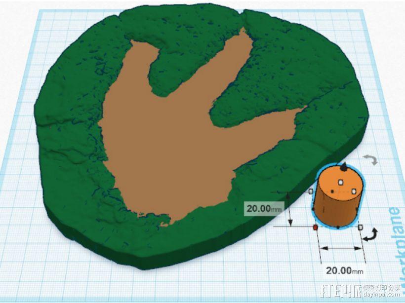 恐龙脚印化石模型 3D模型  图4