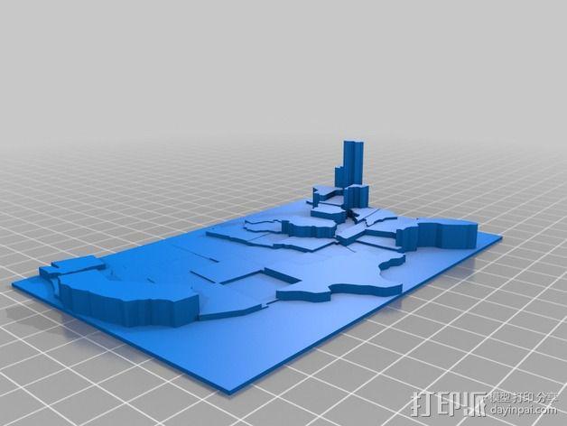 美国地图  棱柱地图 3D模型  图4