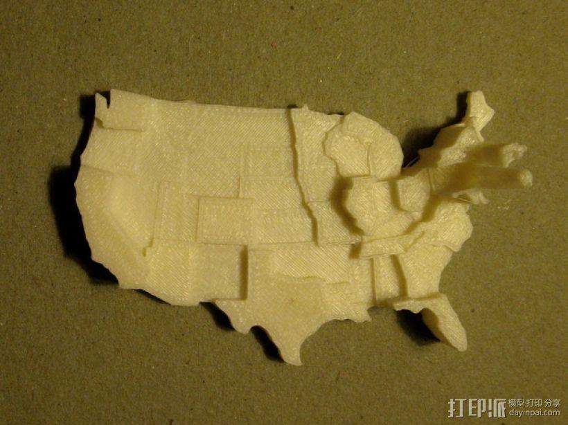 美国地图  棱柱地图 3D模型  图1