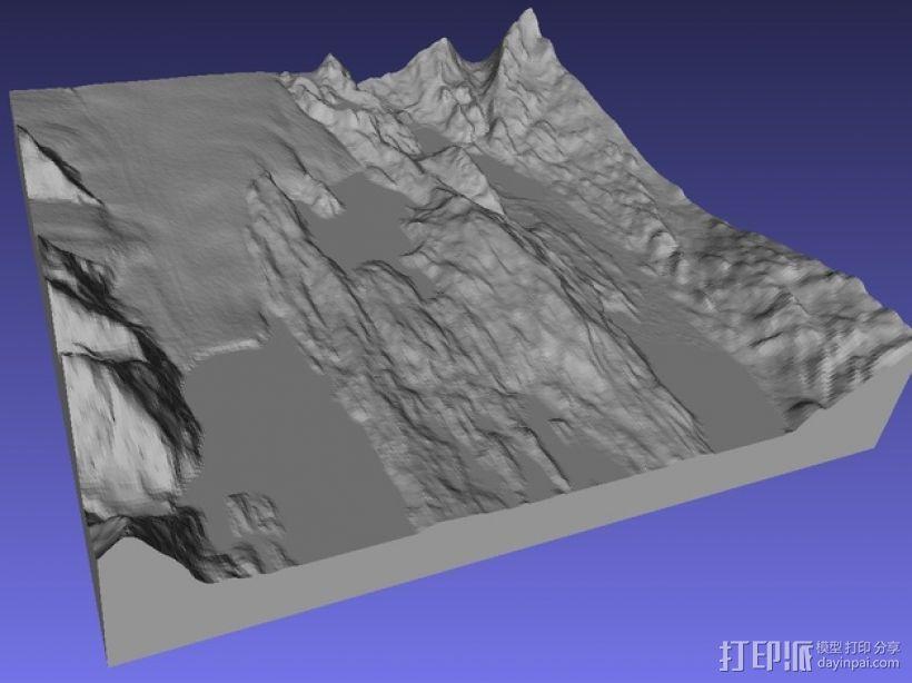圣克鲁兹地形图 3D模型  图1