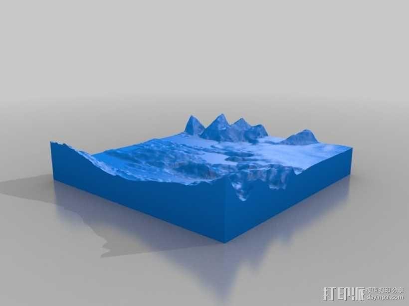 圣克鲁兹地形图 3D模型  图2