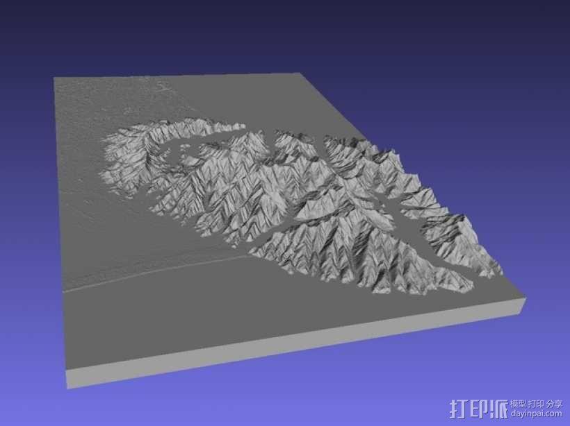 基督城地区地形图 3D模型  图1