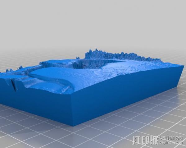 墨西哥海湾浮雕地图 3D模型  图2