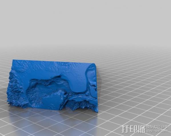墨西哥海湾浮雕地图 3D模型  图3