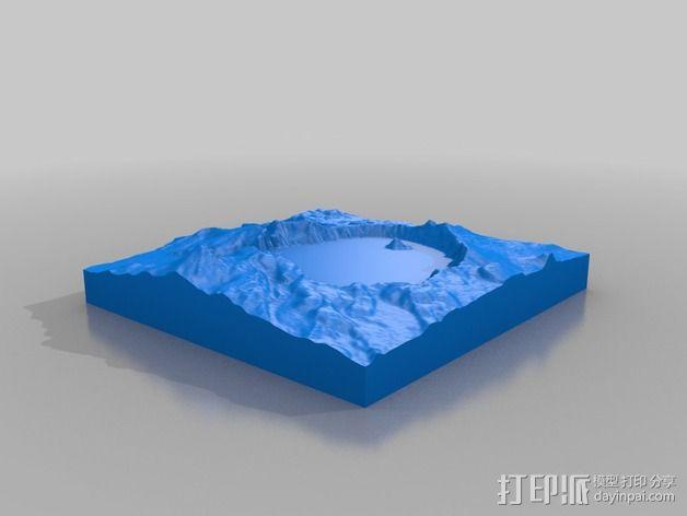 火山口湖地形图 3D模型  图2