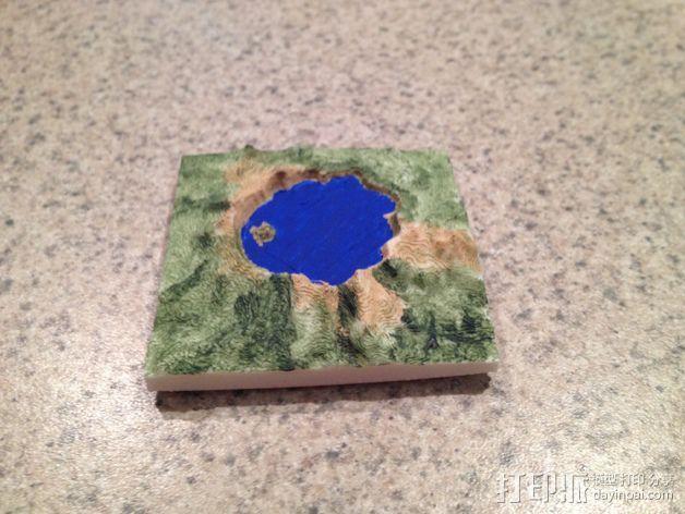 火山口湖地形图 3D模型  图3