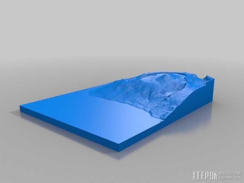 弗尔乃斯火山地形图 3D模型  图2