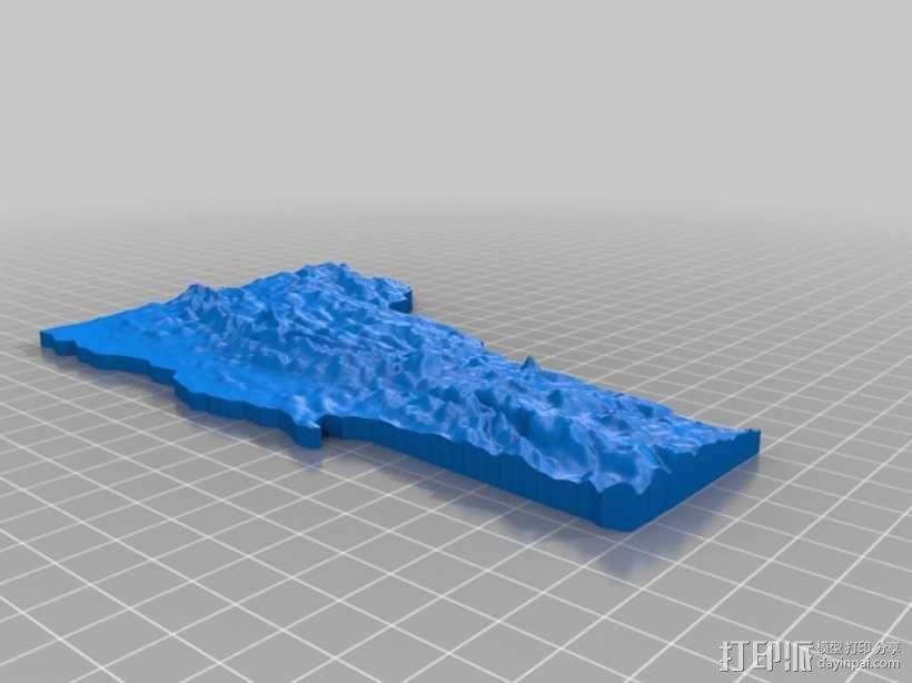福蒙特州地形图模型 3D模型  图2