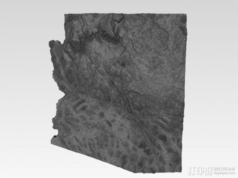 亚利桑那州地形图 3D模型  图2