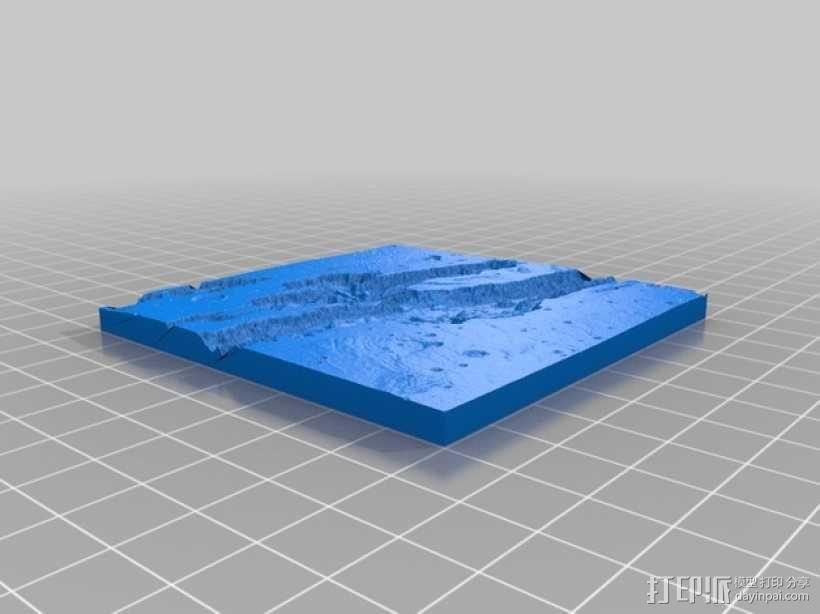 山谷地形图模型 3D模型  图3