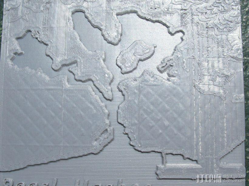 珍珠港和欧胡岛地形图模型 3D模型  图1