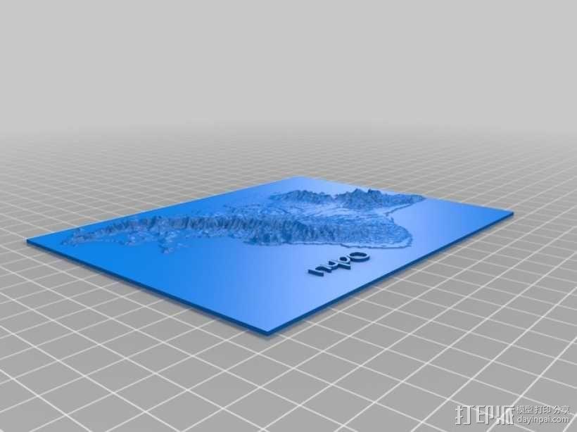 珍珠港和欧胡岛地形图模型 3D模型  图3