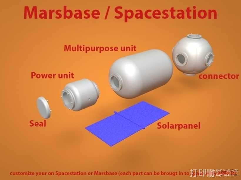 空间站模型 火星基地模型 3D模型  图1