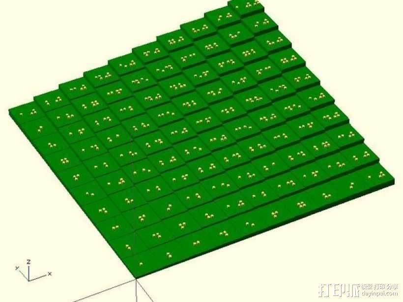 盲文板乘法表 3D模型  图1