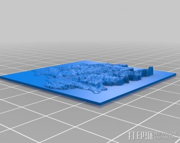 Zuid-Limburg地形图模型 3D模型  图2
