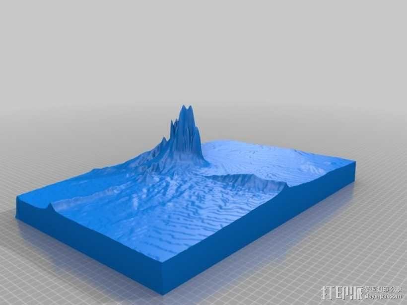 Shiprock火山塞地形图模型 3D模型  图2