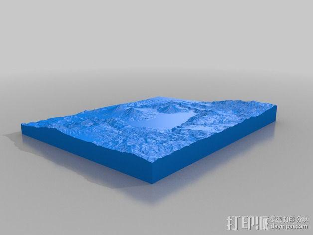 阿蒂特兰湖地形图模型 3D模型  图2
