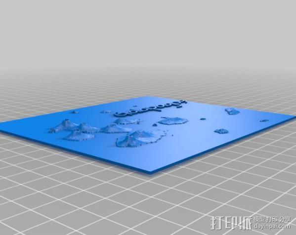 加拉帕戈斯群岛 火山 地形图模型 3D模型  图3