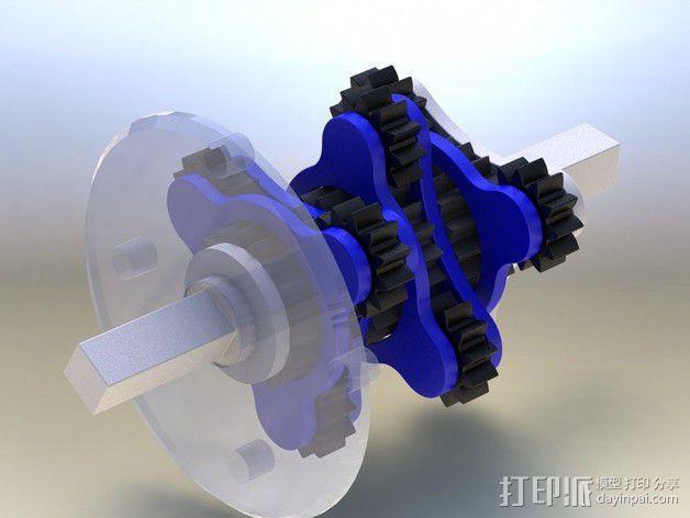 行星齿轮变速器 齿轮箱 3D模型  图2