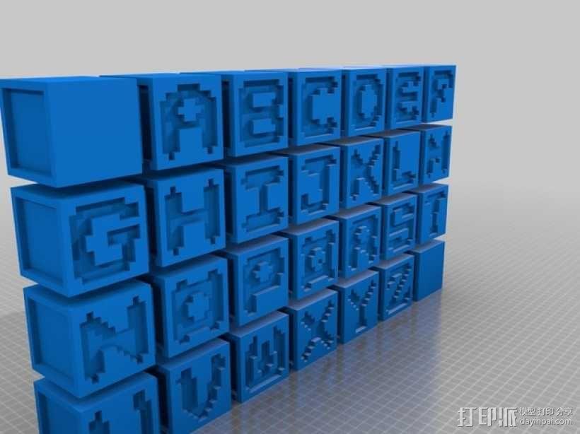 英文字母表 字母方块 3D模型  图1