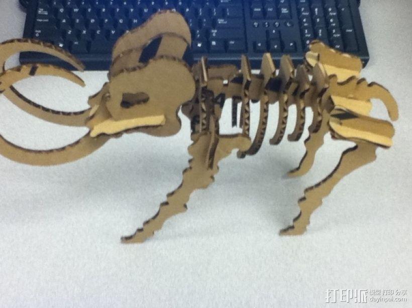 长毛象骨架模型 3D模型  图3