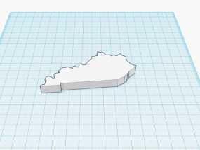 肯塔基州地图 地图轮廓模型 3D模型