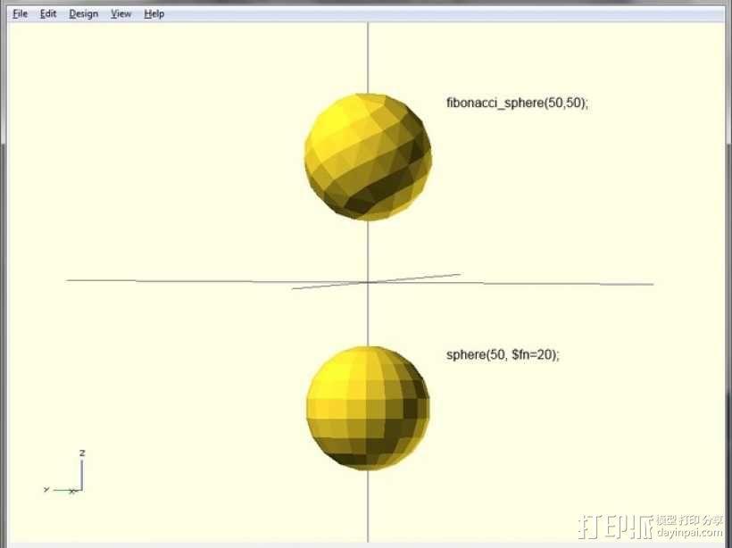 斐波那契球体 3D模型  图1