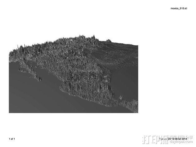 墨西哥地形图 3D模型  图1