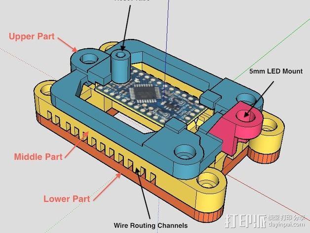 Arduino Mini Pro理线盒 3D模型  图3