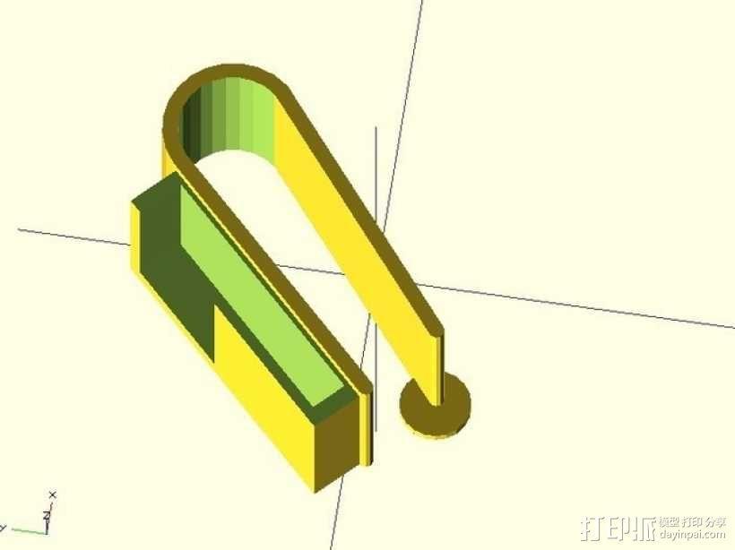 车库门开门夹 3D模型  图1