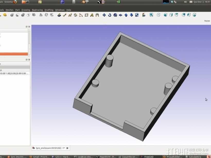 七弦琴——可移动音频播放器和录音器外壳 3D模型  图1