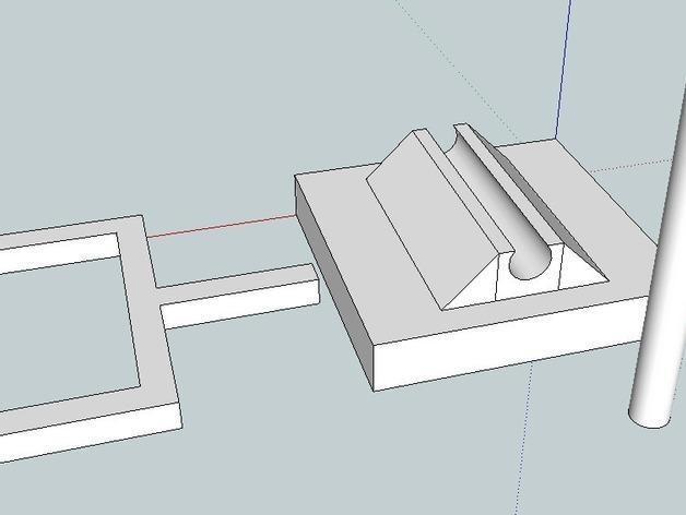 迷你桌上杠杆开关 3D模型  图1