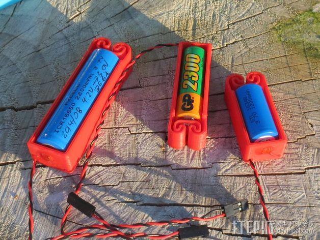集成弹簧的曲型电池盒 3D模型  图2