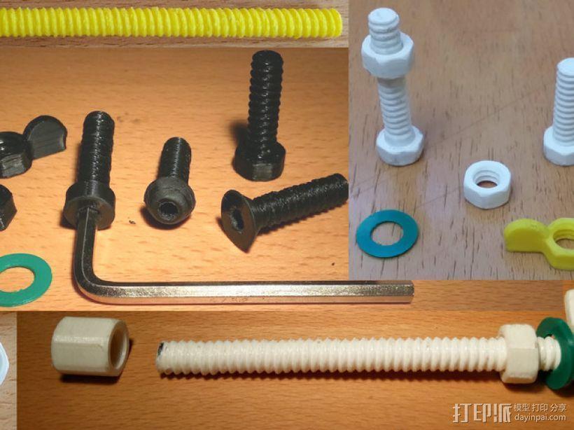 螺母,螺丝,螺杆 3D模型  图1
