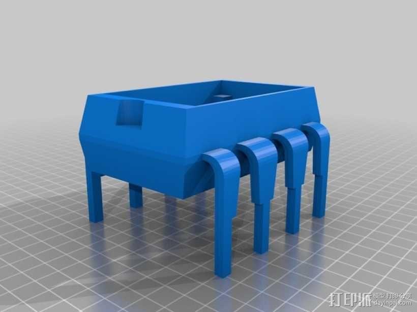8引脚集成电路/单片机-面包板架和零件盒 3D模型  图1