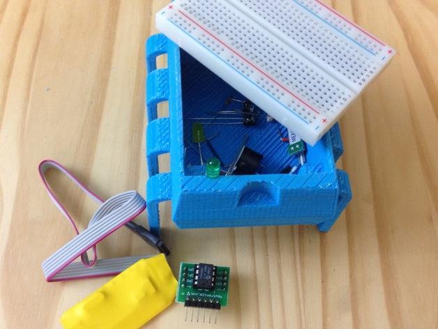 8引脚集成电路/单片机-面包板架和零件盒 3D模型  图3
