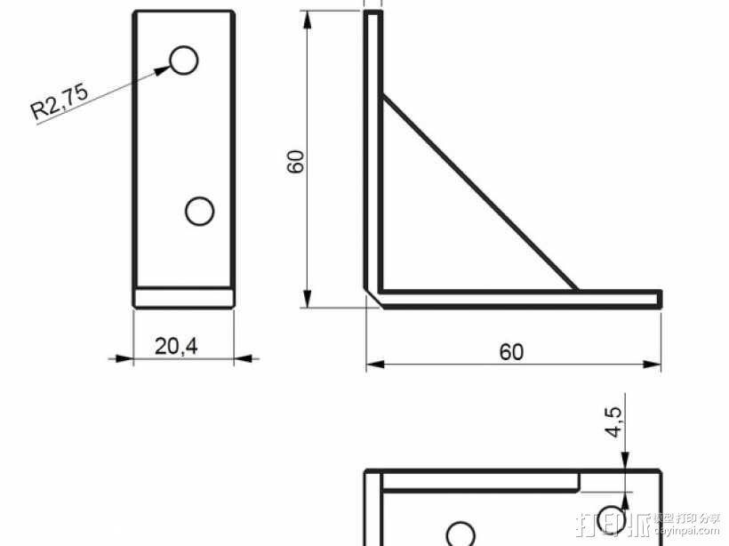 60x60 mm 家具支架 3D模型  图5