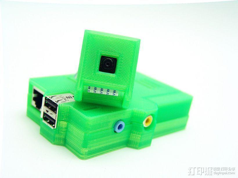 PiKase——带有旋转摄像头,通用输入输出接口帽以及更多其他功能的树莓派外壳 3D模型  图1