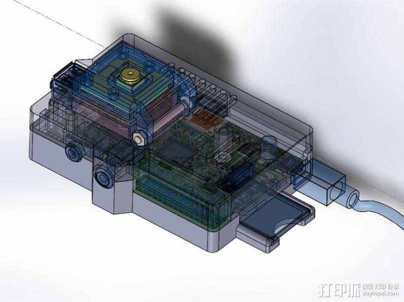 PiKase——带有旋转摄像头,通用输入输出接口帽以及更多其他功能的树莓派外壳 3D模型  图14