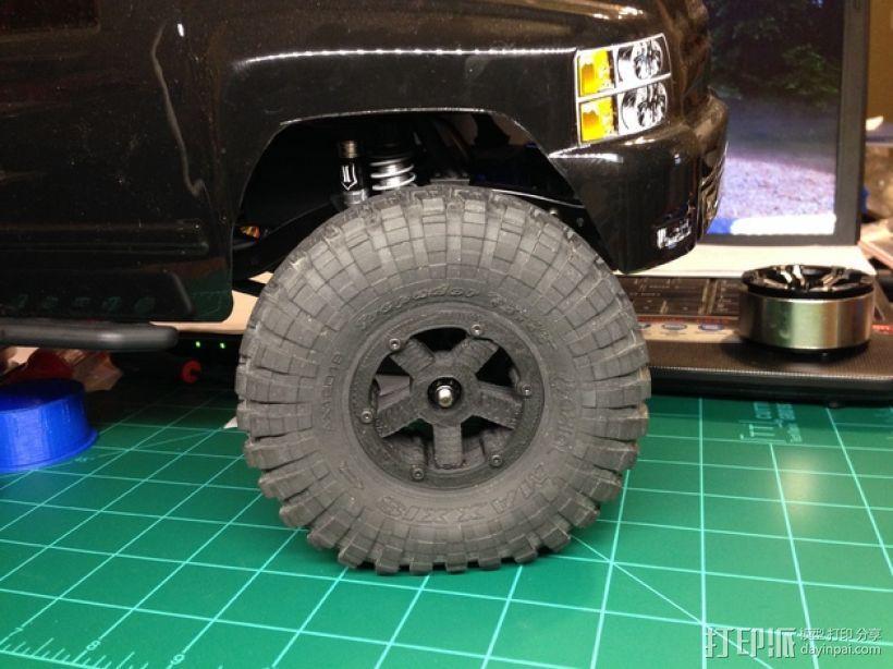 Axial SCX10 和Wraith的1.9夹片锁胎  12mm Hex 3D模型  图1